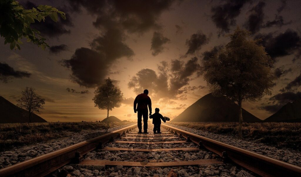 father and son, walking, railway-2258681.jpg